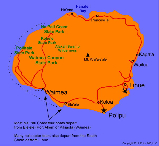 Kauai Map of Tourist Sites